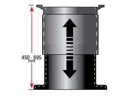 dôme coulissant pour cuve de récupération d'eau - prolongement de l'embout de 450 à 695 mm