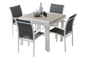 Salon de Jardin Modulo : Table Extensible en Polywood + 4 Fauteuils