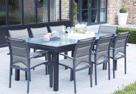 Salon de Jardin Modulo : Table Extensible + 8 Fauteuils (4 Coloris)