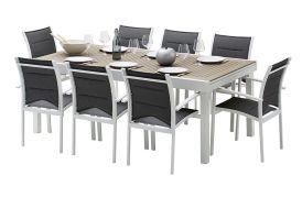 Salon de Jardin Modulo : Table Extensible en Polywood + 8 Fauteuils