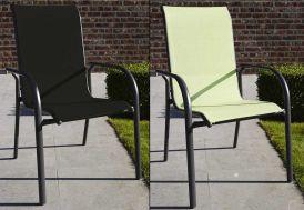 Fauteuil de Jardin Aluminium Empilable Noir ou Vert