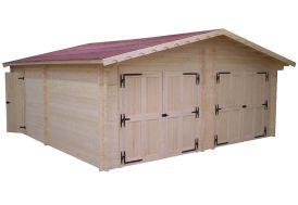 Garage double en bois avec deux portes pour voitures et porte de service