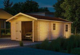 Garage en Bois Brut Laurel 44 mm (750 x 400 cm)