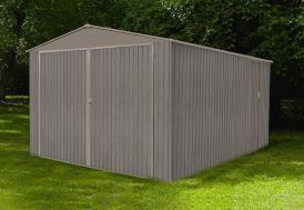 garage en métal galvanisé 17 m² effet bois vieilli