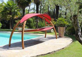 Hamac en Bois de Pin avec Toile Matelassée Polyester 120 x 280 cm Sucra