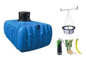 Cuve de récupération d'eau de pluie en PE avec accessoires 3000L