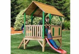 Maison Enfant Bois Cabane + Toboggan Akela