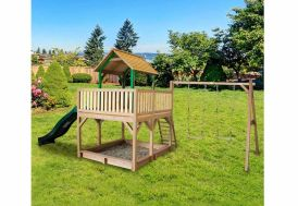 Maison Enfant Bois Atka + Toboggan + 2 Balançoires