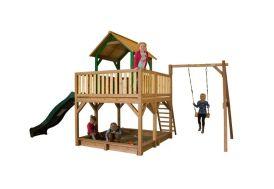 Maison Enfant Bois Atka + Toboggan + 1 Balançoire