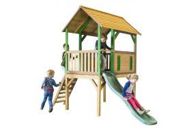 Maison Enfant Bois Cabane + Toboggan Bogo