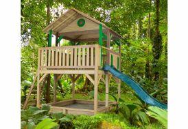 aire de jeux en bois FSC avec cabane, toboggan et bac à sable