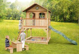 maison d'enfants en bois 100% FSC sur pilotis avec bac à sable et toboggan