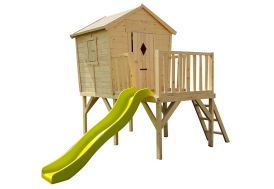 Cabane Maison Enfant en Bois Brut sur Pilotis + Toboggan Morgane