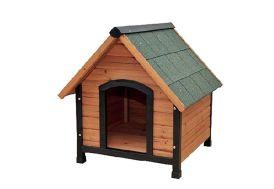 Niche pour chien en bois traité avec toiture en shingle vert Faura