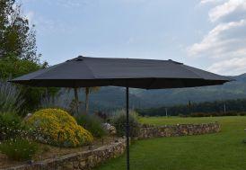 Parasol rectangulaire 460 cm avec 3 têtes aluminium et polyester