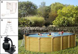 Piscine en Métal Aspect Bois Hors-Sol Ovale 515x390cm + Accessoires