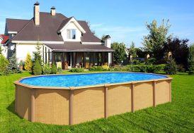 piscine en métal hors sol imitation bois grande piscine de 8 m