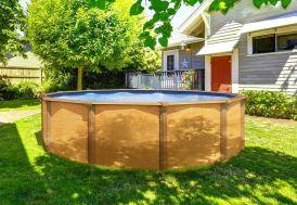 piscine hors sol ronde en métal imitation bois 5 m de diamètre