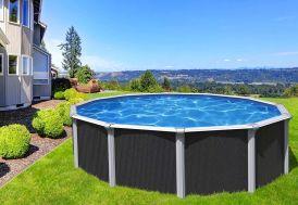 piscine en métal gris anthracite ronde 5,80 m hors sol Trigano