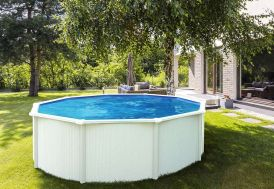 piscine en métal blanc hors sol abak ronde 485 cm