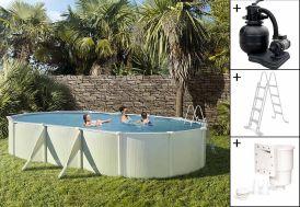 Piscine en Métal Hors-Sol Ovale Saphir 640x390cm + Accessoires
