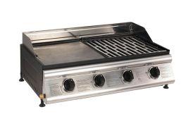 plancha à gaz avec plaque en fonte et grill de cuisson pour surface de 75 x 42 cm