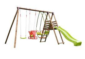 portique aire de jeux en bois avec toboggan et balançoires
