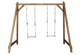 portique en bois de hemlock avec double balançoire certifié FSC