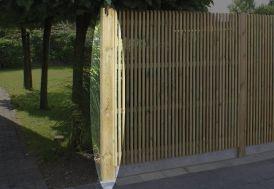 poteau rainuré en pin traité autoclave pour départ de clôture Gardival