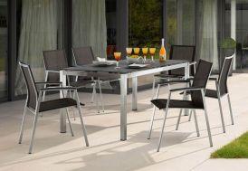 Salon de Jardin Inox avec Table (160x90cm) et 6 Chaises Porto