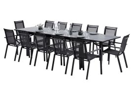 Salon de Jardin HPL: Table Extensible + 12 Fauteuils