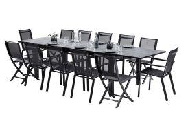Salon de Jardin HPL: Table Extensible + 8 Fauteuils + 4 Chaises