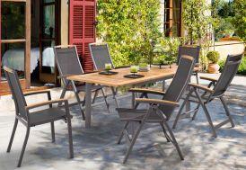 Salon de Jardin Alu avec Table Teck + 6 Chaises Anthracite Catena