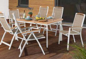 Salon de Jardin Alu avec Table Teck + 6 Chaises Blanc Catena