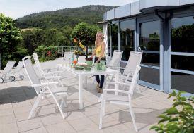 Salon de Jardin avec Table Extensible Puroplan + 6 Chaises Blanc Trento