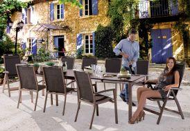 Salon de Jardin avec Table Extensible Puroplan + 6 Chaises Mocca Trento