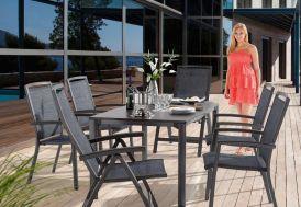 Salon de Jardin avec Table Extensible Puroplan + 6 Chaises Trento