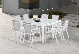 Salon de Jardin Carré Whitestar : 1 Table Extensible + 8 Fauteuils