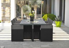 salon de jardin en aluminium et résine tressée noir 8 fauteuils encastrables