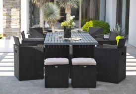 Salon de Jardin Encastrable: 1 Table + 6 Fauteuils + 4 poufs