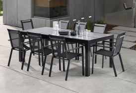 Salon de Jardin HPLStar : 1 Table + 8 Fauteuils (210/330x100)