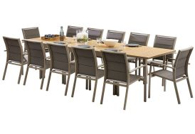 Salon de jardin Polywood: Table Extensible + 12 Fauteuils