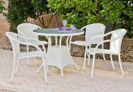 Salon de Jardin en Résine Tressée Blanche Calblanc : Table + 4 Fauteuils