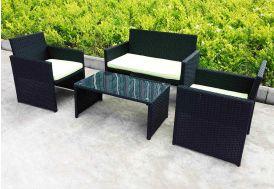 Salon de Jardin en Résine Tressée Lounge : 1 Sofa 2 Pl + 2 Fts + 1 Table
