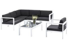 Salon de Jardin Orlando: 1 Table + 1 Sofa d'Angle + 1Ft
