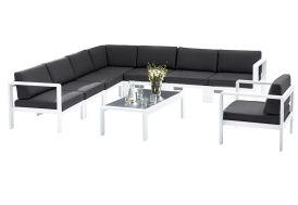 Salon de Jardin Orlando: 1 Table + 1 Sofa d'Angle + 1 Fauteuil
