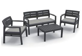 Salon de Jardin Java : 1 Sofa 2 Pl + 2 Fts + 1 Table