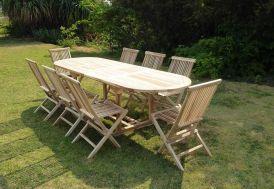 Salon de jardin en bois de teck massif 8 personnes