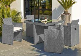 salon de jardin en acier et résine tressée gris : 1 table et 4 fauteuils