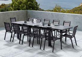 ensemble salon d'extérieur en aluminium avec table extensible et ses 12 fauteuils